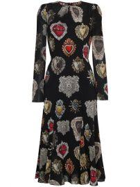 Dolce  amp  Gabbana Black Heart Print Midi Dress at Farfetch