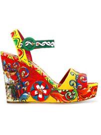 Dolce  amp  Gabbana Carretto Siciliano Print Wedge Sandals at Farfetch