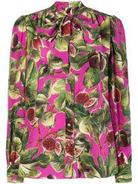 Dolce  amp  Gabbana Fig Print Pussy Bow Shirt - Farfetch at Farfetch