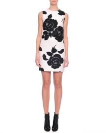 Dolce  amp  Gabbana Floral-Print Shift Dress  Black White at Neiman Marcus