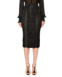 Dolce  amp  Gabbana Lace-Up Jacquard Midi Pencil Skirt at Neiman Marcus