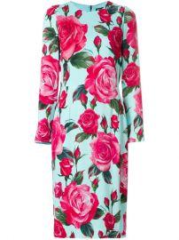 Dolce  amp  Gabbana Large Rose Longsleeved Shift Dress at Farfetch