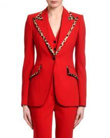 Dolce  amp  Gabbana Leopard-Trimmed Wool Blazer at Neiman Marcus