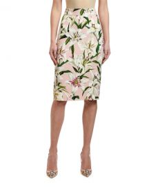 Dolce  amp  Gabbana Lily Print Cady Tubino Pencil Skirt at Neiman Marcus