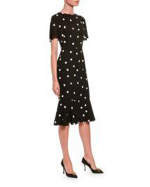 Dolce  amp  Gabbana Polka-Dotted Silk Flutter-Sleeve Dress at Neiman Marcus