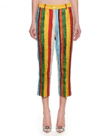 Dolce  amp  Gabbana Rainbow Stripe Jacquard Cropped Pants at Neiman Marcus