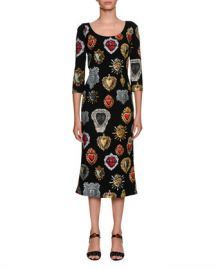 Dolce  amp  Gabbana Round-Neck 3 4-Sleeve Heart-Print Cady Midi Dress at Neiman Marcus
