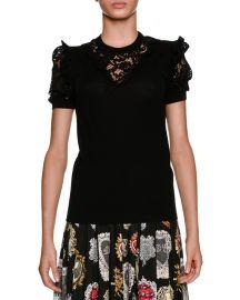 Dolce  amp  Gabbana Short-Sleeve Crewneck Pullover Wool-Blend Top w at Neiman Marcus