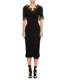 Dolce  amp  Gabbana Short-Sleeve V-Neck Ruched Cocktail Dress w  Lace Trim at Neiman Marcus