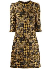 Dolce  amp  Gabbana half-sleeved tweed dress half-sleeved tweed dress at Farfetch