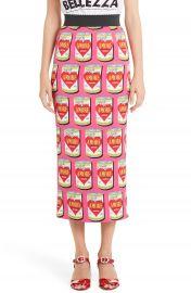Dolce Gabbana Can Print Silk Blend Charmeuse Pencil Skirt at Nordstrom