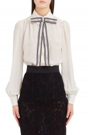 Dolce amp Gabbana Bow Neck Silk Cr  pe de Chine Blouse at Nordstrom