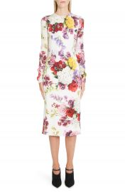 Dolce amp Gabbana Floral Print Stretch Silk Charmeuse Sheath Dress   Nordstrom at Nordstrom