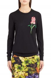 Dolce amp Gabbana Flower Embellished Wool Sweater at Nordstrom