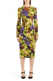 Dolce amp Gabbana Grape Print Cady Body-Con Dress   Nordstrom at Nordstrom