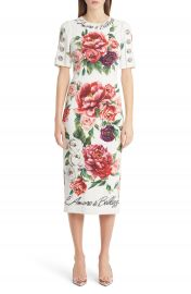 Dolce amp Gabbana Jewel Button Peony Print Cady Dress at Nordstrom