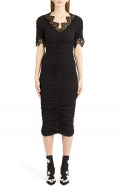 Dolce amp Gabbana Lace Trim Ruched Silk Blend Dress at Nordstrom