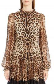 Dolce amp Gabbana Leopard Print Stretch Cady Blouse   Nordstrom at Nordstrom