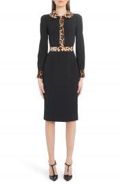 Dolce amp Gabbana Leopard Trim Long Sleeve Sheath Dress   Nordstrom at Nordstrom