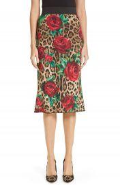 Dolce amp Gabbana Rose  amp  Leopard Print Cady Skirt   Nordstrom at Nordstrom