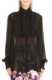 Dolce amp Gabbana Ruffle Bib Sheer Stretch Silk Blouse at Nordstrom