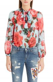 Dolce amp Gabbana Sheer Rose Print Silk Chiffon Blouse   Nordstrom at Nordstrom