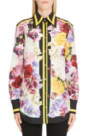 Dolce amp Gabbana Stripe Trim Floral Print Poplin Shirt   Nordstrom at Nordstrom