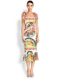 Dolce and Gabbana - Tie-Shoulder Foulard-Print Dress at Saks Fifth Avenue
