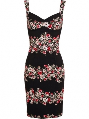 Dolce and Gabbana Floral Printed Crepe Dress - at Farfetch