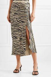 Dolly zebra-print silk-satin midi skirt at Net A Porter