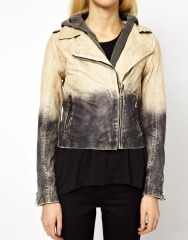 Doma  Doma Arena Two Tone Leather Jacket in grey at Asos