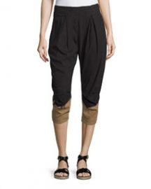 Donna Karan Pleated-Front Two-Tone Capri Pants BlackPaper Bag at Neiman Marcus