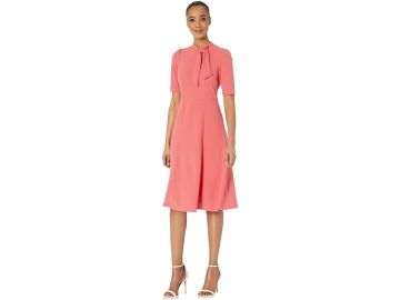 Donna Morgan Short Sleeve Stretch Knit Crepe Fit-and-Flare with Tie-Neck at Zappos
