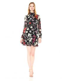 Donna Morgan Women\'s Mock Neck Floral Dress with Lace Trim at Amazon