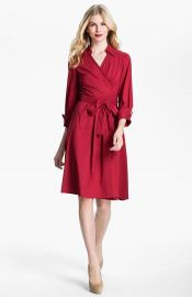 Donna Ricco Collared Fit   Flare Wrap Dress in red at Nordstrom