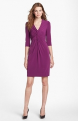 Donna Ricco Twist Front Jersey Sheath Dress in purple at Nordstrom