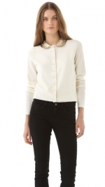 Dorrit's white cardigan with gold collar at Shopbop