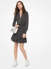 Dot Crepe Ruffled Dress by MICHAEL Michael Kors at Michael Kors