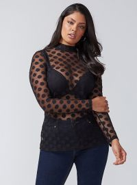 Dot Mesh Mock Neck Top at Lane Bryant
