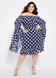 Dot Off-The-Shoulder Bell Sleeve Dress at Ashley Stewart