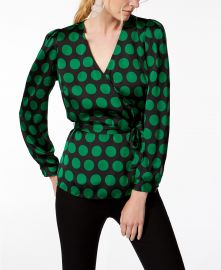 Dot-Print Wrap Top at Macys