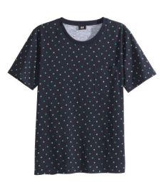 Dot-print T-shirt in black at H&M