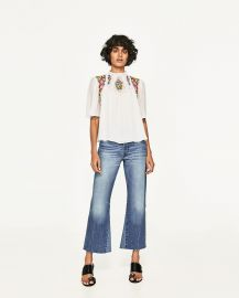 Dotted Mesh Blouse with Floral Embroidery at Zara