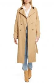 Double Breasted Belted Stretch Cotton Trench Coat at Nordstrom