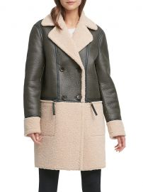 Double-Breasted Faux Shearling Peacoat by DKNY at Hudsons Bay
