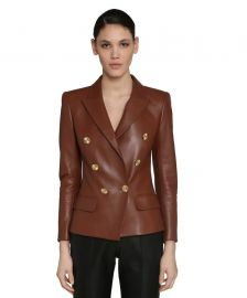 Double-Breasted Leather Blazer by Alexandre Vauthier  at Luisaviaroma