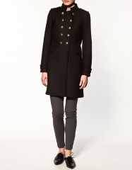 Double Breasted Military Coat at Zara