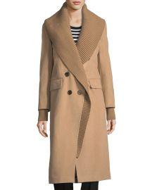 Double-Breasted Rib-Collar Coat at Bergdorf Goodman