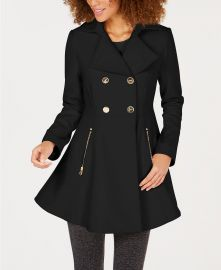 Double-Breasted Skirted Peacoat  Laundry by Shelli Segal at Macys