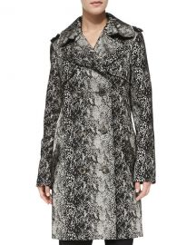 Double-Breasted Snake-Print Trenchcoat at Neiman Marcus